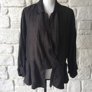 Flax Brown & Black One Button Jacket / Size Small